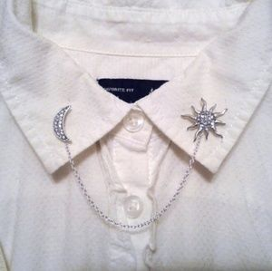 Celestial Moon & Sun Collar Pins Collar Chain
